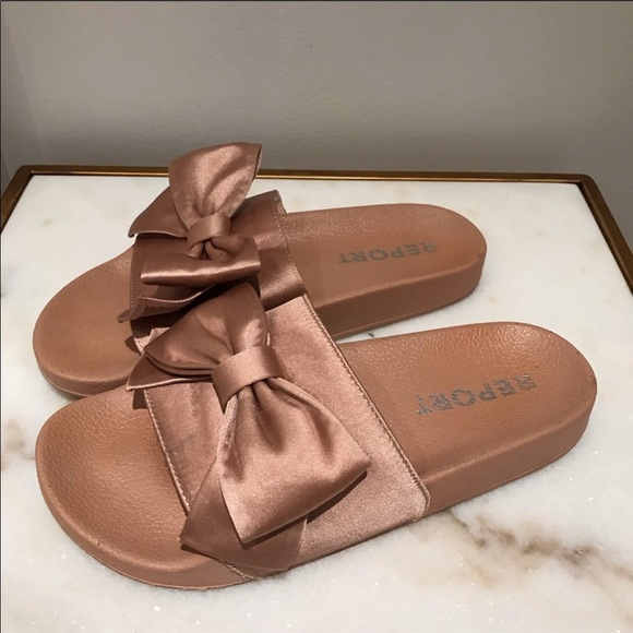 Report Rose Gold Satin Bow Slides